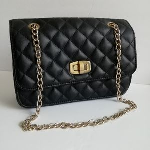 Express Quilted Classic Black Bag W/Gold Chain